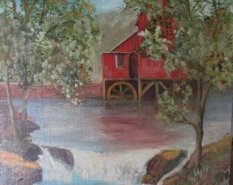 vintage original painting old red water mill primitive rustic folk art Shabby chic Cottage Cabin prairie Farmhouse 10 x 14