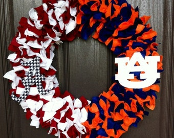 "Alabama/Auburn House Divided 16"" wreath"