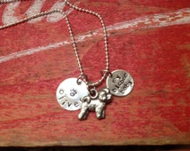 Bichon Frise Custom Necklace Dog Jewelry Personalized with your Dog's name Pet Memorial