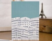 Downtown Paris Hand Illustrated Blank Greetings Card designed by Jessica Hogarth. Parisian building illustrations on stationery.