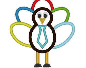 INSTANT DOWNLOAD Boy Turkey with Little Man Tie Machine Embroidery Applique Design