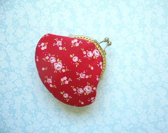 Mini Rose on Red Small Clutch Coin Purse - Made from Tilda Fabric - Bridesmaid Gift, Birthday Gift, Holiday Gift -  Gifts Under 20