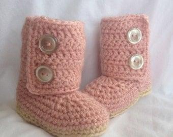 Baby Girl Crochet Ugg Baby Boots Pink