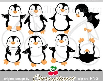 Black and White Penguins-Cute Playful Penguins digital clipart for-Personal and Commercial Use