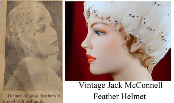 Helmet of Swan Feathers Tipped With Brilliants Rhinestone White Feather Cloche Hat Jack McConnell Vintage Great Gatsby Style
