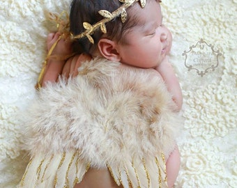 Soft Nude Colored with Gold Accented Feathered Angel Wings and Matching Leaf TieBack Halo Set - Perfect Newborn Photo Prop