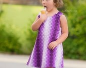 Baby toddler girl dress A line pinafore purple dress retro 70s style Scandinavian print