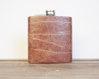 Personalized Leather Flask - Tan Hip flask, angled leather pieces, Hand Engraved, Best Man, cowboy leather