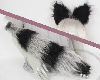 Raccoon Furry Ear and/or Tail - buy as a Set or Seperate! Cosplay, Accessories, Costume