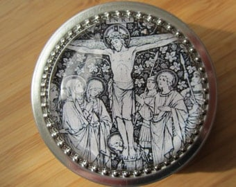 Item # 35 ~ Crucifix crucifixion of Jesus Black and white line drawing Rosary case First Communion gift boy girl confirmation, Easter, Lent