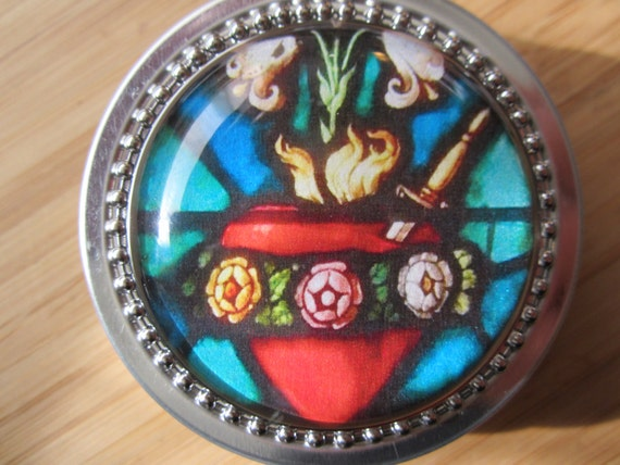 Item # 17 ~ Immaculate Heart of Mary Rosary case tin 2 oz round, steel tin First Communion gift for boy girl favor baptism gift or favor