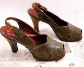 40s 1940s Platform Green Reptile Peep toe Slingback Heels - Size 7.5