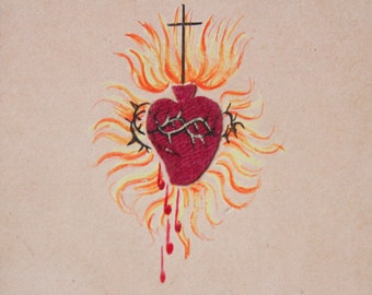 Antique  Holy Card-French Flaming Sacred Heart  Rays of Light-Hand Painted-Gold Metallic Edge