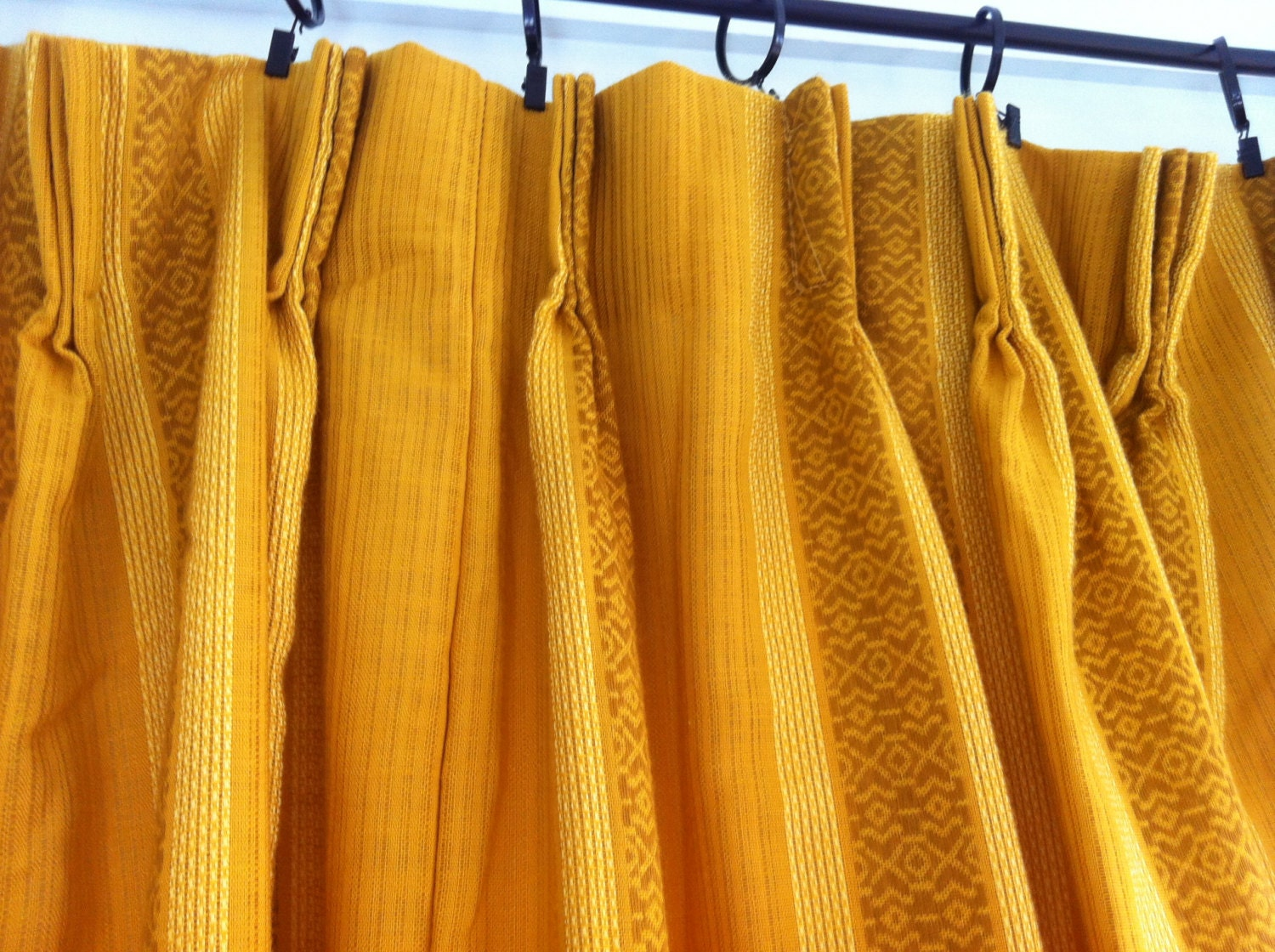 Vintage Yellow Curtains Yellow Curtain Vintage Weave Pattern