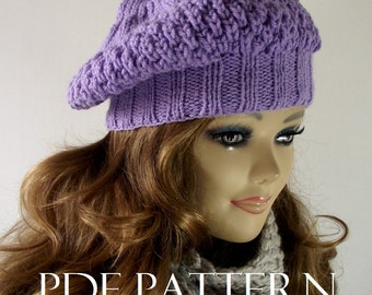 KNITTING HAT PATTERN LouLou Boina Hat Instant Download pdf pattern Slouchy Winter Hat Knitted Hat Pattern