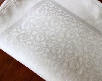 Vintage Linen Tablecloth Damask 72  x 69 Curlicues Spirals White