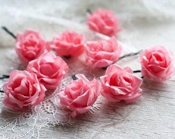71_Hair pins, Flower pins, Pink rose pins, Flower clips, Rose barrette, Flower barrette, Hair clips flowers, Hair accessories, Pink wedding.