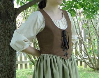 Renaissance Bodice, BROWN, Womens Size S, M, L, XL