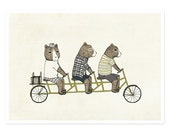 3 Bears On A Bicycle Print - Illustration Print, Bear Print, Bike Print, Nursery Decor, Kids Art, Baby, Neutral Print, 5 x 7 Art Print