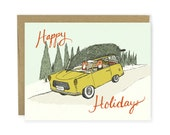 Christmas Card - Holiday Road Trip - Merry Christmas Card, Happy Holidays Card, Holiday Greeting Card, Card, Fox Card, Woodland