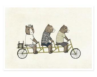 3 Bears On A Bicycle Print - Illustration Print, Bear Print, Bike Print, Nursery Decor, Kids Art, Baby, Neutral Print, 5 x 7 Art Print