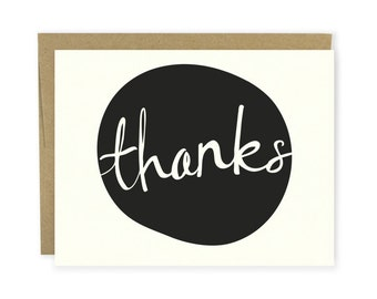 Modern Dot Thank You Card - Thank You Notecard, Thanks Card, Hand Lettered Card, Typography