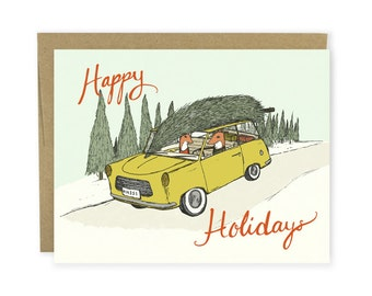 Christmas Card - Holiday Road Trip - Merry Christmas Card, Happy Holidays Card, Holiday Greeting Card, Card, Fox Card, Woodland