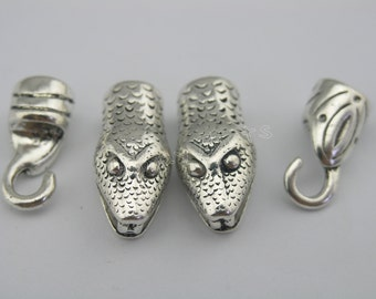 3 Sets Dia. 7.0mm Antique Silver Snake Head Hook Clasp For Leather Bracelet