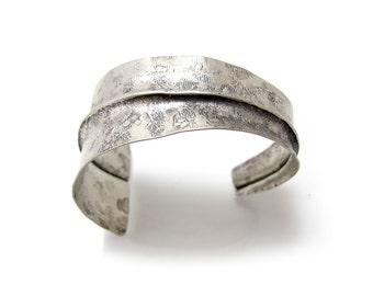 Asymmetrical Nickel Cuff - Folded Nickel Cuff - Triangular Fold Cuff Bracelet  Forged Silver Cuff Bracelet - Tapered Cuff - Faux Silver Cuff