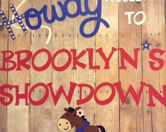 Cowboy/cowgirl birthday sign with rhinestones