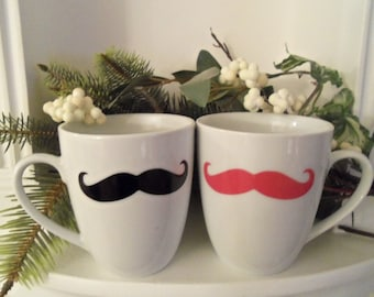 Couples Mustache Mug, Black, Pink Mustaches, Housewares, Cups, Mugs, Mustache, Home & Living, His and Hers, couples mugs, Christmas,Holidays