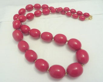 Large Vintage Red Bead Chunky 60s Necklace with Gold Accent