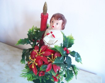 Christmas Made in Hong Kong Choir Boy Holly Poinsettias Red Candle Plastic Wreath Decor Compote Stemmed Stand