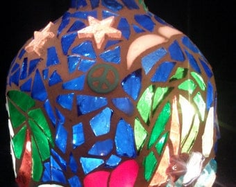 patron bottle stained glass hand cut mosaic light, upcycled, beach, palmtree accent /night light, unique handmade gift, one of a kind, ooak