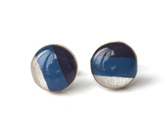 Striped navy blue studs minimal, stud earrings post earrings eco friendly jewelry, wood earrings, minimalist jewelry eco fashion for her
