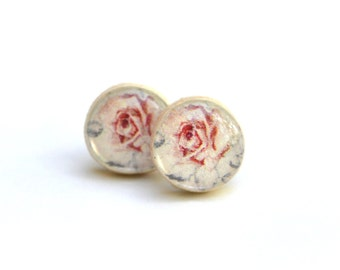 Pink rose floral studs post earrings eco friendly floral jewelry wood jewelry etsy wood earrings eco fashion