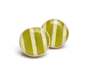 Olive Green and White Striped Stud Earrings. wooden Green Post Earrings. Green earrings. Eco Friendly Jewelry. Wood Earrings Starlight Woods