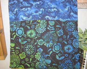 "14"" x 14""  Batiks PILLOW COVER - Singing Bluebirds of Happiness over Fantasy Garden Indigo Blues"