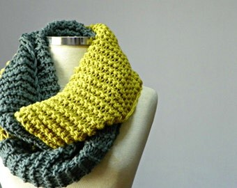 Knitted infinity scarf, Cowl, hood loop, cowl scarf, knit scarf, winter Neck Warmer, for man - women unisex circle scarf, chunky scarves