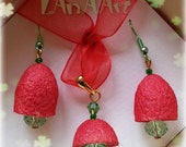 Red fruits jewelry - raspberries, cranberries of silk cocoons and crystal beads - earrings & pendant, ooak, forest fruits, handmade