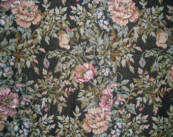 """Vintage Fabric - Upholstery Fabric - Rose Pattern - Previously Used - Small Projects - 14"""" x 33"""" - 1960s"""