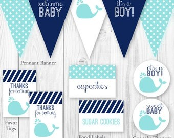 Whale Baby Shower Package - Blue & Navy. DIY Printable Baby Shower Decorations - Blue Whale Boy Baby Shower Decor.