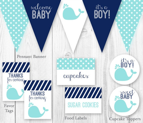whale baby shower package blue navy diy printable baby shower