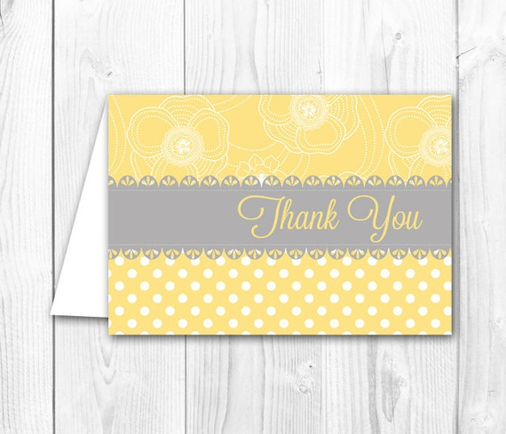 Printable Thank You Card Yellow Gray Shabby Chic Thank You Note Coordintating Bridal Shower