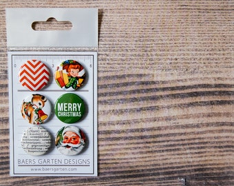 Badges / Flair buttons Merry Christmas Vintage Christmas