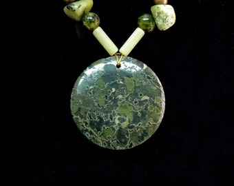 Green Earth Jasper Focal with Jasper, etc.