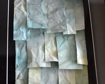 Hand Dyed Paper Collage, Shades of Green in a Black Frame - Watercolour Inks Tile Floating 3D Effect Original Artwork