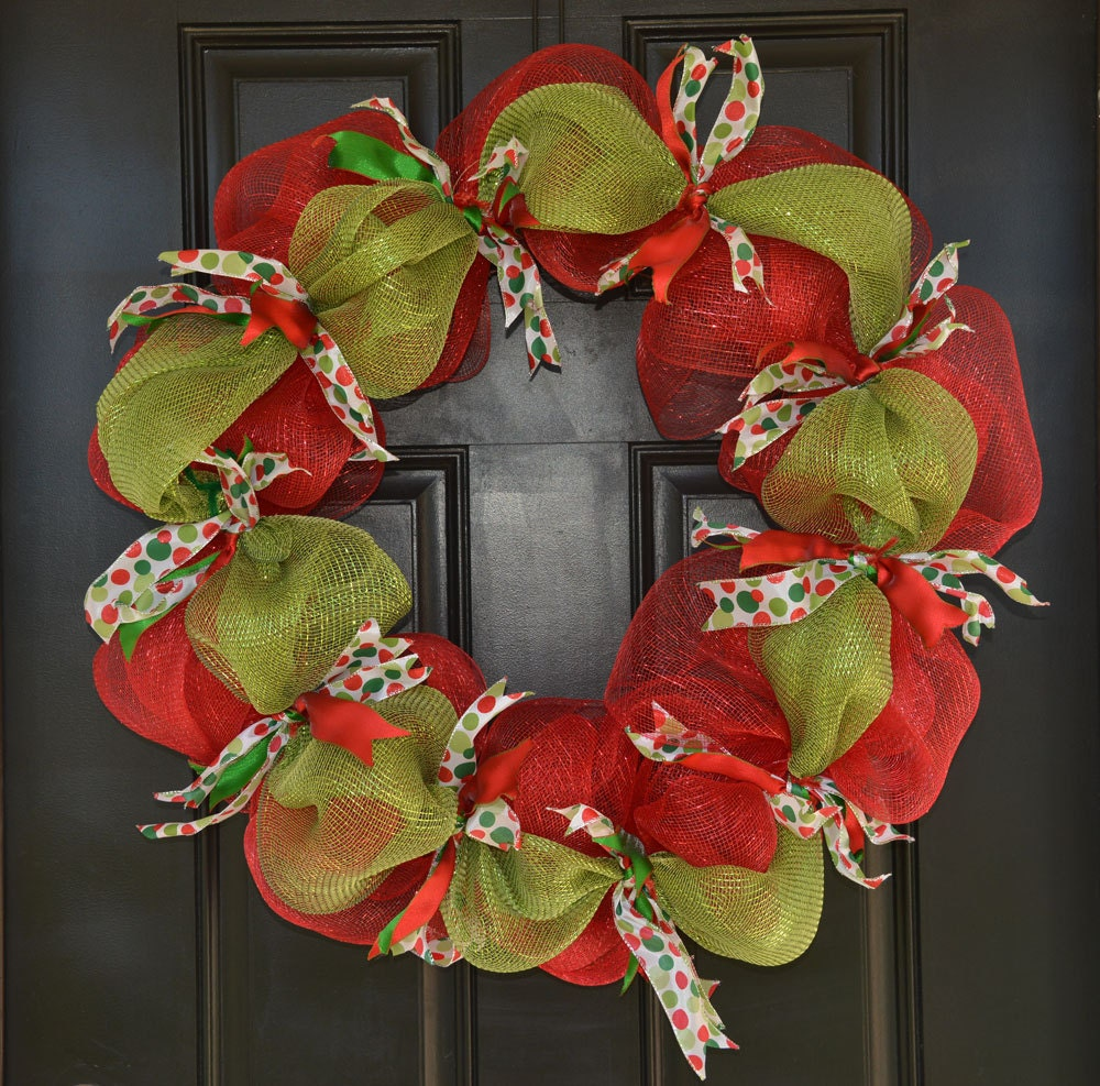 Deco Mesh Christmas Wreath Handmade Holiday By KutItOutCrafts