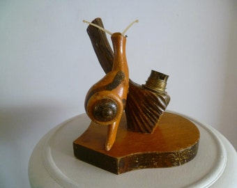 Vintage Kitsch Hand Carved Solid Wood Snail Table Light or Lamp Base Mid Century Modern French Decoration