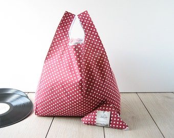 tote bag 1950s style / 50s red polka dots shopping bag / red cotton / new shopper / triangle folded bag / edge in white ribbon / 1 piece
